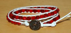 Red Facetted Crystal and Leather Wrap Bracelet by SeasonsJewels on Etsy