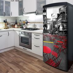 Parisian Roofs Fridge Decal by mur*mur Interior Exterior, Interior Design, Old Refrigerator, Fridge Decor, Wall Art For Sale, My Dream Home, Decoration, Home Projects, Home Kitchens