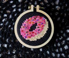 Sprinkled Donut Cross Stitch Button
