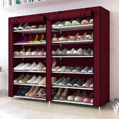 Sunrain 7 Layer 2 Rows Non-Woven Fabric Shoe Shelf Rack Organizer Storage Closet Cabinet Portable With Cover Home Furniture Wine Red Shoe Shelves, Shoe Storage Cabinet, Storage Cabinets, Shoe Cabinet Entryway, Closet Organization, Shoe Organizer, Rack Design, Fabric Shoes, New Furniture