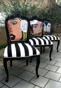 Check out these funky cartoon chairs! #furniture