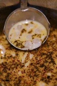 Yayla Çorbası (Turkish yogurt soup) with mint and mantı (mini Turkish dumplings)