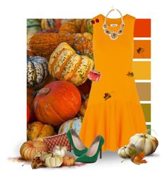"""""""Pumpkin Dress"""" by kbarkstyle ❤ liked on Polyvore featuring art"""