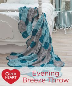 Evening Breeze Throw Free Crochet Pattern in Red Heart Yarns -- Choose restful teal and grey shades or spice up your surroundings with bright colors. This is a great take along project that combines easy octagons with small filler squares. It's a design that blends perfectly with modern, eclectic or traditional home décor.