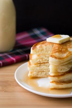 These thick, fluffy Eggnog Pancakes are perfect for holiday breakfasts. Don't wait til Christmas for these delicious pancakes!