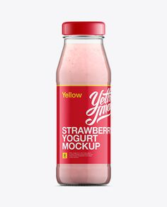 Glass Bottle W/ Strawberry Yogurt Mockup. Preview