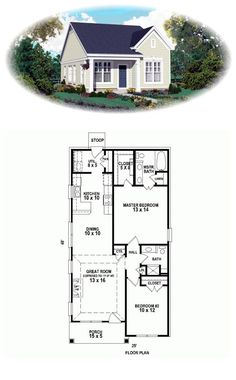 House Plan 47550 Total living area 1058 sq ft 2 bedrooms 2 bathrooms House dimensions 25 x 48 Onestory economical home with open floor plan kitchen with island Architec. Cottage Plan, Cottage Homes, The Plan, How To Plan, Haus Am Hang, Br House, House Bath, Small Cottages, Small Houses