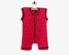 Pañalero mangas - de punto rojo, 6-9 meses, botones de Mariquita