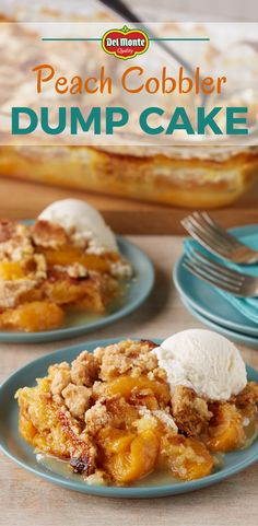 Peach Cobbler Dump Cake - A super-simple sweet comfort food, made with 3 ingredients! No mixer, no eggs! Just layer fruit, cake mix and butter right in the baking dish, and a delicious dessert bakes up that's somewhere between a cobbler and a fruit crisp. Keep it good and simple, or try a variation to twist up the fun. #10MINUTEWOW