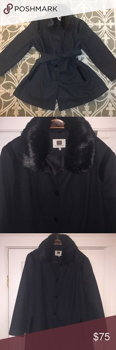 LAUNDRY by Design winter coat EUC (worn one time). Beautiful military-style pea coat with black trim detailing in the shoulders and pockets. Faux fur collar is removable so it can be styled whichever way you'd like. Includes three spare buttons if needed. Laundry by Design Jackets & Coats Pea Coats