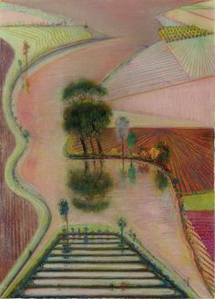 Wayne Thiebaud (American, b. 1920), Delta, 1998. Pastel and graphite on paper, 31 x 22½ in.
