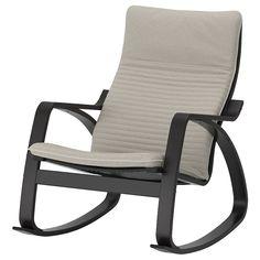 POÄNG Gyngestol - sortbrun, Hillared mørkeblå - IKEA Ikea Ps, Ikea Malm, Ikea Armchair, Ikea Home, Fabric Armchairs, Wing Chair, Wood Veneer, Light Beige, Couches