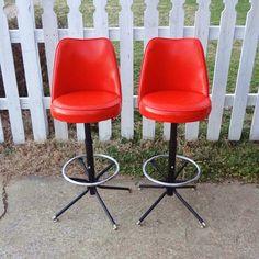 RESERVED Pair of Vintage Orange Vinyl and Metal Swivel Stools - Admiral Chrome Corp - Detroit MI
