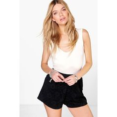 Boohoo Ava All Over Lace Flippy Shorts ($20) ❤ liked on Polyvore featuring shorts, black, hot short shorts, sequin hot pants, sequin hotpants, mid length shorts and sequin hot shorts
