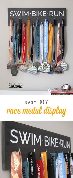 great DIY way to display all your race medals! This one is for triathlon medals, but it would be easy to customize for any type of race or event. Fun handmade gift idea for Mother's Day or Father's Day.