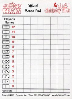 Printable Domino Score Sheets | Dominoes Score Sheet