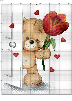 Cross-stitch Bear with Flower Cross Stitch Cards, Cross Stitch Baby, Cross Stitch Animals, Cross Stitch Kits, Counted Cross Stitch Patterns, Cross Stitch Designs, Cross Stitching, Cross Stitch Embroidery, Embroidery Patterns