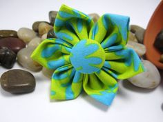Large Aqua and Lime Green Flower Hair Clip by LemonandBees on Etsy, $5.00