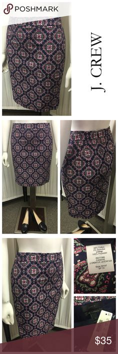 New Lined Pencil Skirt By J. Crew Seize: 2P, Condition: New, Colors: Pink, Blue, White, Material: Cotton, Spandex, Polyester. Beautiful skirt and excellent quality! Originally Priced at: $79.50! Please see all photos and areas of this garment and ZOOM in if needed so. Since description varies from one persons opinion to another, we encourage you to please see all photos and use them as a guide. Please ask questions if needed prior to purchasing. We are a small company and ALL SALES ARE…