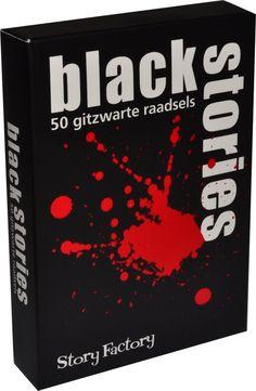 Black Stories - Denkspel. 50 Black Stories met 31 misdaden, 49 lijken, 11 moorden, 12 zelfmoorden en een dodelijke maaltijd. Voor 2 - 15 spelers. Speelduur +/- 30 minuten.