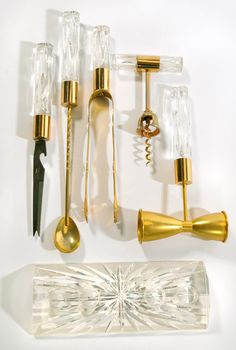 Vintage Lucite Acrylic and Brass Bar Tools Set Vintage Barware Utensils 5 piece set withbase