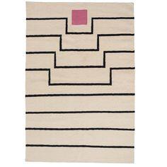 Tabitha Flat-Weave Wool Rug – H Marketplace White Shag Rug, White Rug, Pink White, Pink And Blue Rug, Pink Rug, Geometric Rug, Tribal Rug, Dhurrie Rugs, Rug Company