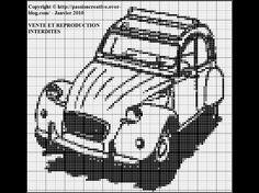véhicule - 2cv- point de croix - cross stitch - Blog : http://broderiemimie44.canalblog.com/