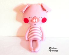 Pig Sewing Pattern PDF Softie Stuffed Toy Photo Tutorial Dress