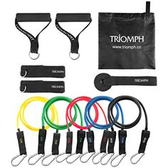 Triomph Resistance Bands Set Exercise Bands with Heavy Rubber Resistance Tubes, Door Anchor, Ankle Strap for Workouts, Stretching, Gyms, Physical Therapy, Yoga and Home Fitness Training * Read more reviews of the product by visiting the link on the image. (This is an affiliate link and I receive a commission for the sales)