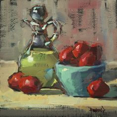 Italian Plums and Olive Oil, painting by artist Cathleen Rehfeld