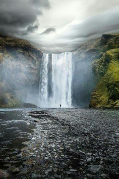 Skogafoss, a gorgeous waterfall situated on the Skógá River in the south of Iceland at the cliffs of the former coastline