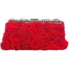 VALENTINO Rose clutch (€1.295) ❤ liked on Polyvore featuring bags, handbags, clutches, purses, accessories, red, valentino purses, red hand bags, rose handbag and red clutches