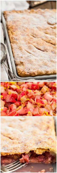 Crispy crust filled with sweet and tangy rhubarb. Slab pie is a great way to feed a crowd!
