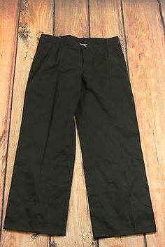 Chaps Black Boys Approved School Uniform Pants Size 14 Husky Pleated Front NEW