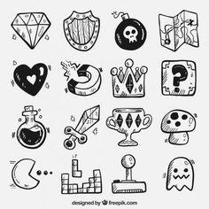 tattoo objetos videojuegos gratis beginner dibujados tattoos mano beginners simple oggetti disegnati pacman flash drawings freepik gioco jogo desenhados tatuajes