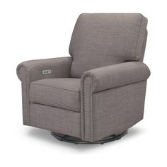 Million Dollar Baby Classic Linden Power Rocker Recliner Swivel Glider In Grey Tweed Reclining Rocking Chair, Glider Recliner, Nursery Recliner, Recliner Chairs, Wall Hugger Recliners, Power Recliners, Soft Pillows, Chair And Ottoman, Gliders