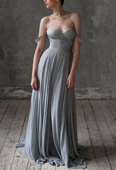 Gray Wedding dresses silk wedding dress Beach by VICTORIASPIRINA