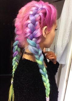 Light Pastel Rainbow Hair Inspiration For Summer As though colorful beams of light were caressing your hair, this pastel rainbow trend will add plenty of glam to your summer look. Cotton Candy Hair, Cotton Candy Makeup, Coloured Hair, Colored Braids, Dye My Hair, Mermaid Hair, Pretty Hairstyles, Rainbow Hairstyles, Braid Hairstyles