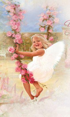 Happy little angel on rose petal swing. #Angel #Swing