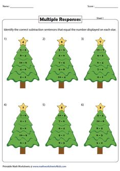 Equivalent Subtraction Sentences | Theme-Based Head Start, Worksheets, Vibrant, Activities, Christmas Ornaments, Holiday Decor, Sentences, Frases, Christmas Jewelry