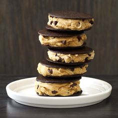 Mini Coffee-Chip Ice Cream Sandwiches- Instant espresso powder and chocolate chips flavor-up light vanilla ice cream in these adorable frozen treats made for grown-ups.