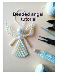 Beaded angel tutorial, Beading Pattern, How to make beaded angel, Christmas Ornament, Beaded Ornament Pattern by LindenHandCrafts on Etsy Christmas Angel Ornaments, Handmade Christmas Decorations, Felt Christmas, Homemade Christmas, Christmas Crafts, Beaded Crafts, Beaded Ornaments, Diy Ornaments, Glass Ornaments