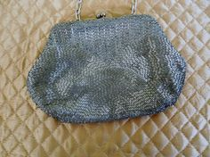 Vintage 50s Silver Beaded Clutch Great Gift made by stilettojewels, $32.00