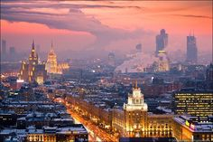 Moscow Russia - Architecture and Urban Living - Modern and Historical Buildings - City Planning - Travel Photography Destinations - Amazing Beautiful Places Places Around The World, Oh The Places You'll Go, Places To Travel, Places To Visit, Winter Sunset, Winter Night, Skyline, City Photography, Future Travel