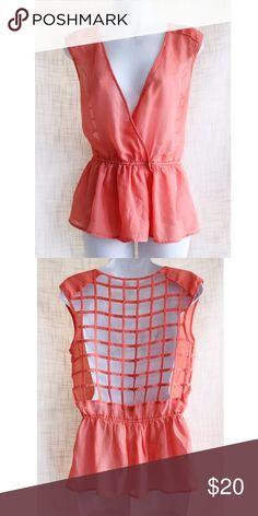 Orange Cross Deep V-neck Open back Tops Blouses