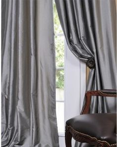 Solid Faux Silk Taffeta Platinum Curtain Panel modern curtains add drama to bedroom Silver Curtains, Faux Silk Curtains, Cute Curtains, Vintage Curtains, How To Make Curtains, Grey Curtains, Modern Curtains, Colorful Curtains, Window Curtains