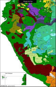 Linguistic map of Ecuador and Peru