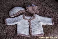 free crochet pattern for Baby Cardigan - sweater , modern and cute,  booties, hat