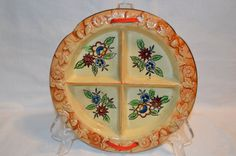 Vintage 4-Part Relish Sauce Round Dish Hand Painted Japan by BigBlossomAntiques on Etsy