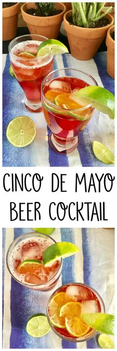 Cinco de Mayo Beer Cocktail with Corona Beer, hard cider, cranberry and lime juice